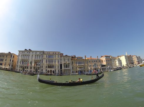Racing a gondola in the Grand Canal